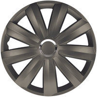 4-Delige Wieldoppenset Venture Pro 16-inch donker grijs + chroom ring (Nylon)