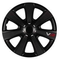4-Delige Wieldoppenset VR 16-inch zwart/carbon-look/logo