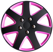 4-Delige Wieldoppenset Michigan 15-inch matzwart/roze