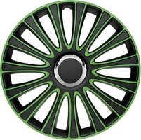 4-Delige Wieldoppenset LeMans 16-inch zwart/groen