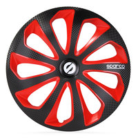 4-Delige Sparco Wieldoppenset Sicilia 14-inch zwart/rood/carbon
