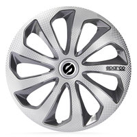 4-Delige Sparco Wieldoppenset Sicilia 14-inch zilver/grijs/carbon