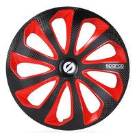 4-Delige Sparco Wieldoppenset Sicilia 15-inch zwart/rood/carbon
