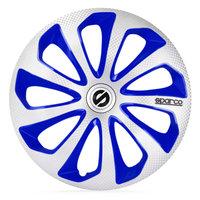 4-Delige Sparco Wieldoppenset Sicilia 15-inch zilver/blauw/carbon