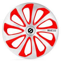 4-Delige Sparco Wieldoppenset Sicilia 15-inch zilver/rood/carbon