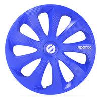 4-Delige Sparco Wieldoppenset Sicilia 16-inch blauw/carbon