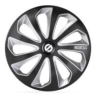 4-Delige Sparco Wieldoppenset Sicilia 16-inch zwart/zilver/carbon