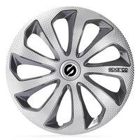 4-Delige Sparco Wieldoppenset Sicilia 16-inch zilver/grijs/carbon