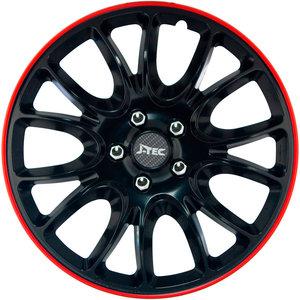 4-Delige J-Tec Wieldoppenset Hero GTR 13-inch zwart/rode rand