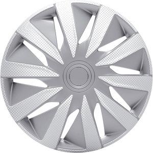 4-Delige J-Tec Wieldoppenset Lazio 13-inch zilver/carbon-look