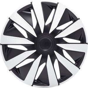 4-Delige J-Tec Wieldoppenset Lazio 13-inch zilver/zwart/carbon-look
