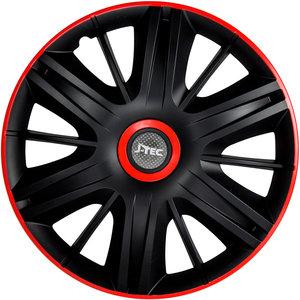 4-Delige J-Tec Wieldoppenset Maximus 13-inch zwart/rood