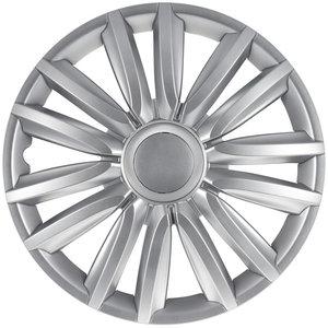 4-Delige Wieldoppenset Intenso Pro 15-inch zilver + chroom ring