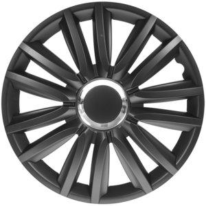 4-Delige Wieldoppenset Intenso Pro 15-inch zwart + chroom ring