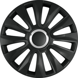 4-Delige Wieldoppenset Avalone Pro 15-inch zwart + chroom ring