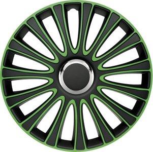 4-Delige Wieldoppenset LeMans 15-inch zwart/groen