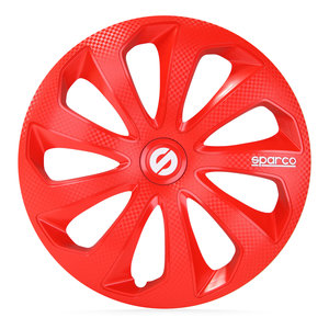 4-Delige Sparco Wieldoppenset Sicilia 15-inch rood/carbon