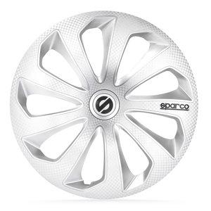4-Delige Sparco Wieldoppenset Sicilia 15-inch zilver/carbon