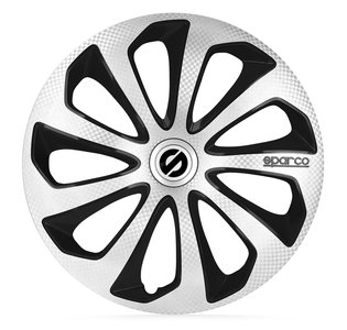 4-Delige Sparco Wieldoppenset Sicilia 15-inch zilver/zwart/carbon