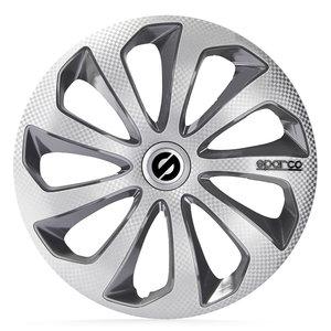 4-Delige Sparco Wieldoppenset Sicilia 15-inch zilver/grijs/carbon